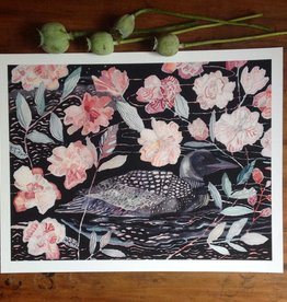 """""""Night Loon and Wild Roses"""" Print by Home of Dodo 11x14"""