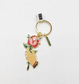 Hand & Flower Keychain, Brass & Enamel - by Idlewild