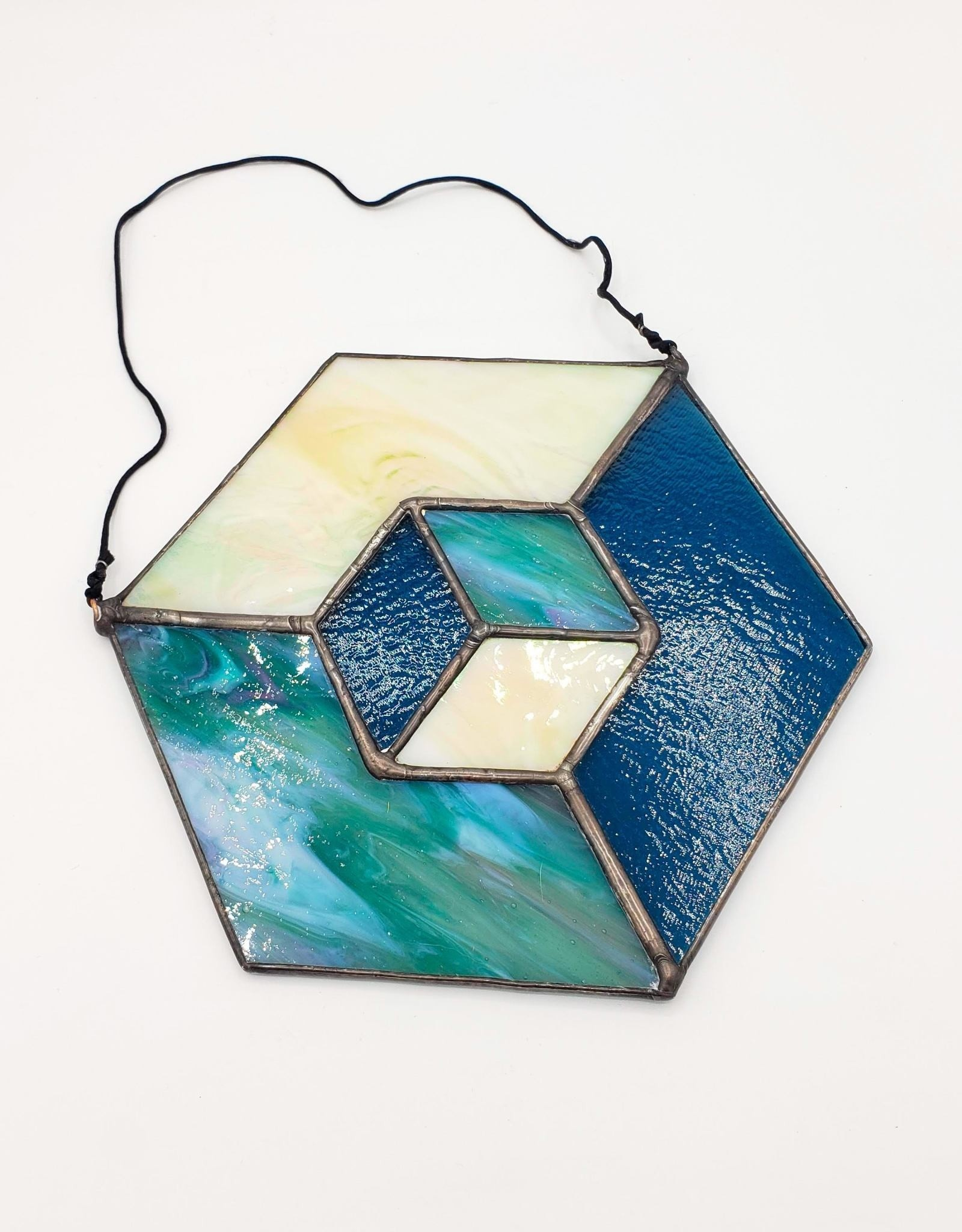 Redux Hex Faceted Stained Glass Suncatcher, Blues & Iridescent