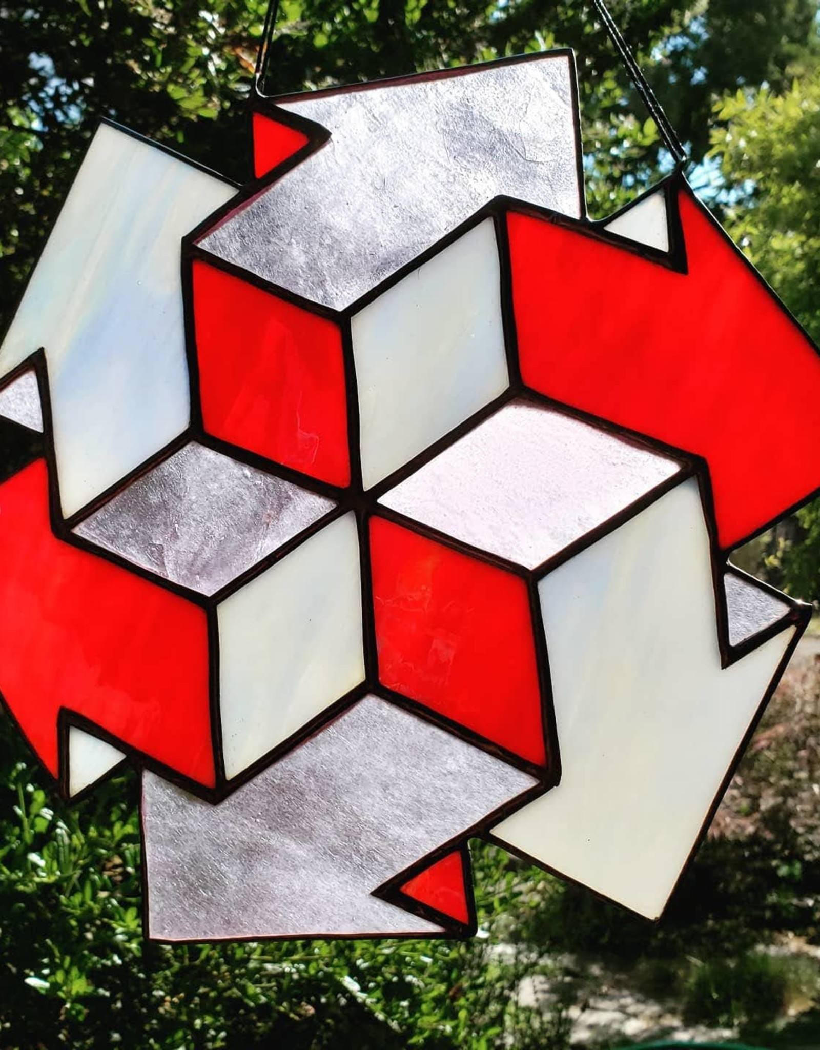 Redux Arrow Illusion Stained Glass Window Hanging