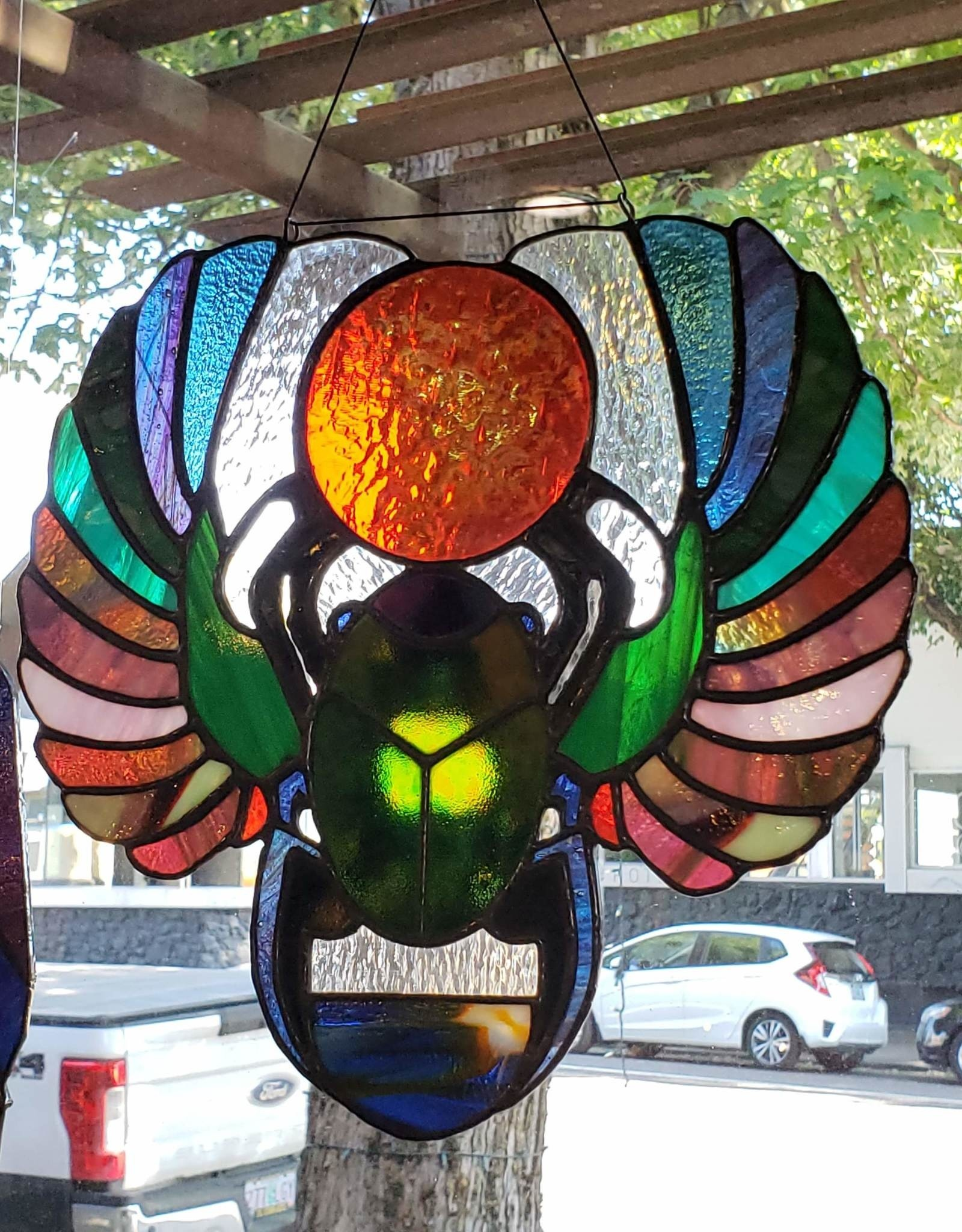 Redux Scarab Stained Glass Window Hanging
