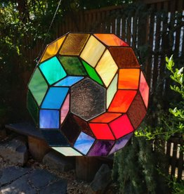 Redux Color Wheel Stained Glass Window Hanging