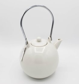 White Round Ceramic Teapot, Vintage