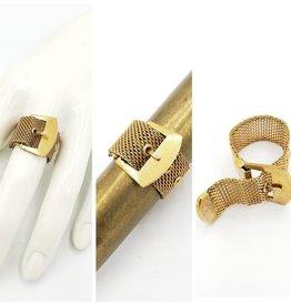 Fun Junk Vintage Brass Mesh Belt Ring