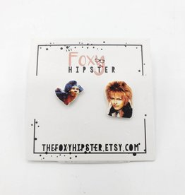The Foxy Hipster David Bowie, Jareth the Goblin King & Ello/Labyrinth - Shrinky-Dink Post Earring