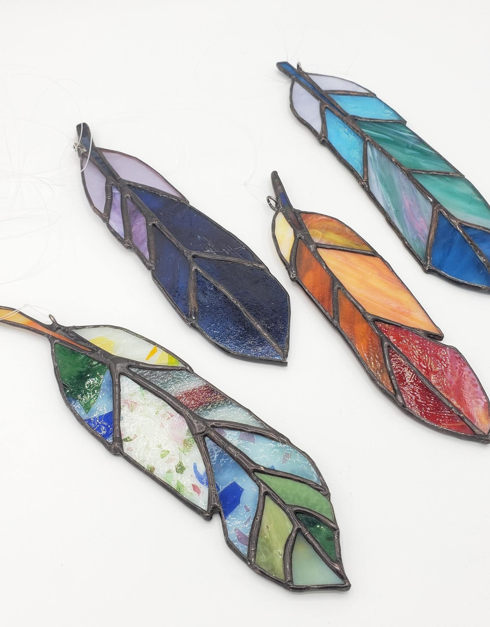 Redux Stained Glass Feather- Blue & Purple