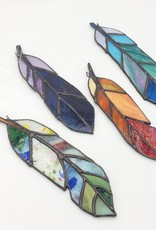 Redux Stained Glass Feather- Reds & Oranges
