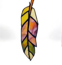 Redux Stained Glass Feather - Brown/Yellow/Greens