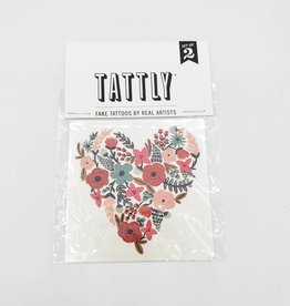 Tattly Floral Heart Love  by Rifle Paper Co. - Tattly Temporary Tattoos (Pairs)