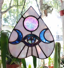 """Redux """"Moon Vision"""" Stained Glass Iridescent White Planchette, Dichroic Glass Gem"""