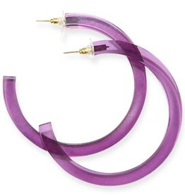 """Ink + Alloy Lucite Eggplant Hoop Earrings 2.75"""""""