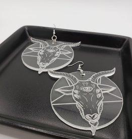 Goat Laser Cut Earring, Clear Acrylic