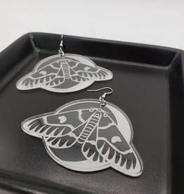 Moth and Moon Laser Cut Earring, Clear Acrylic