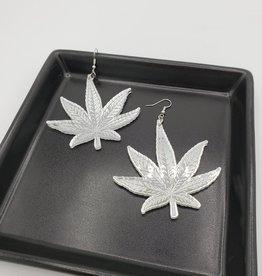 Marijuana Laser Cut Earring, Mirrored Acrylic