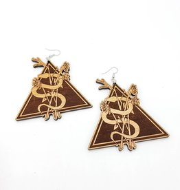 Snake, Florals Triangle Laser Cut Earring, Wood