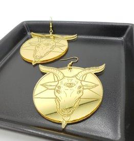 Goat Laser Cut Earring, Gold Acrylic
