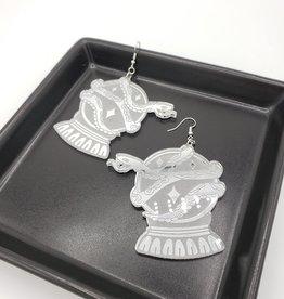 Crystal Ball & Snake Laser Cut Earring, Mirrored Acrylic
