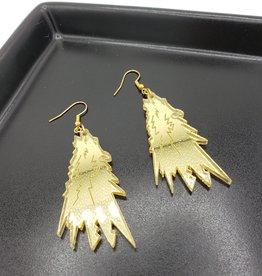 Wolf Howl Laser Cut Earring, Gold Acrylic