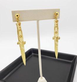Dagger Laser Cut Earring, Gold Acrylic