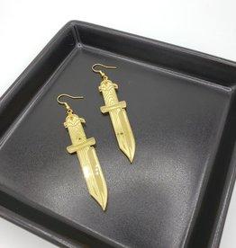 Hunting Knife Laser Cut Earring, Gold Acrylic