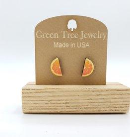 Green Tree Jewelry Orange Slice Post Earrings