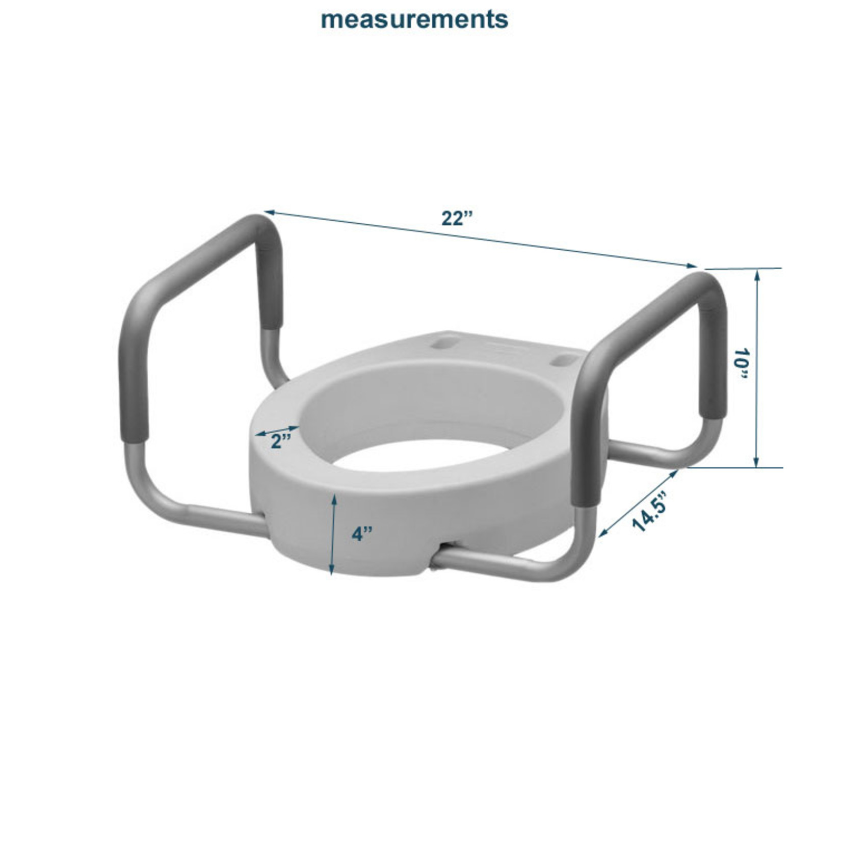 """MOBB Raised Toilet Seat, 4"""" with removable arms"""