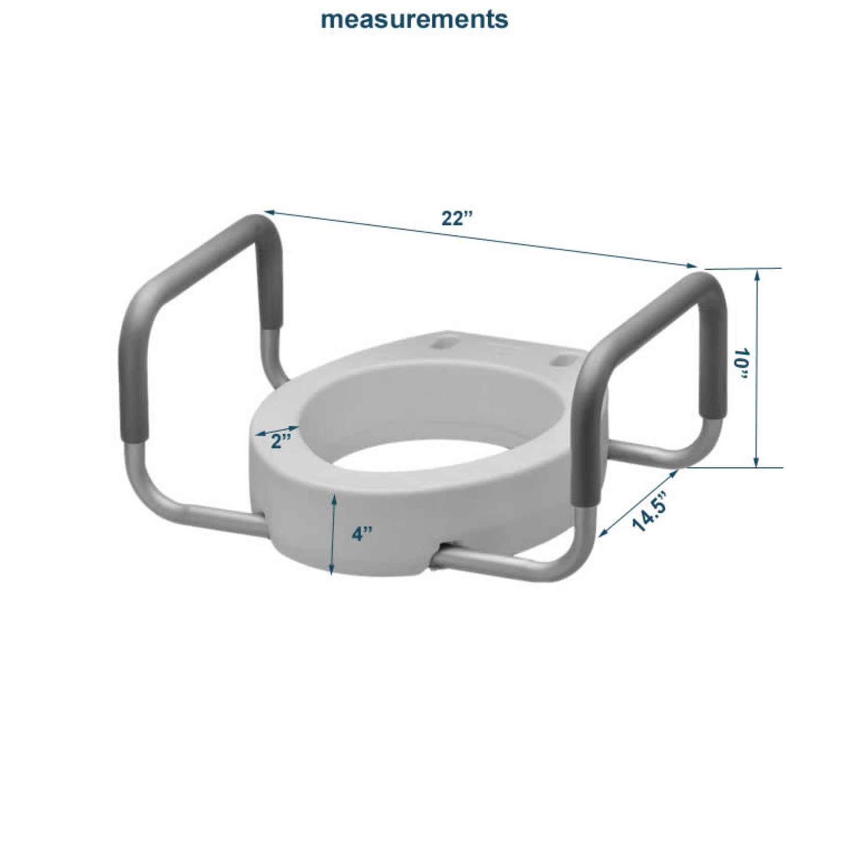"""Drive Raised Toilet Seat, 3.5"""" with removable arms"""