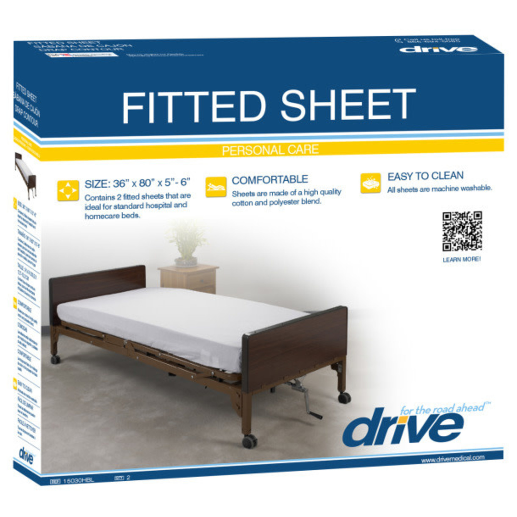 Drive Hospital Bed Sheet Fitted - 2 pack