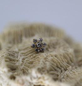 Auris YG Flower 6 Petal Small with White CZ
