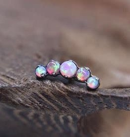 Industrial Strength Threadless 5 Gem Arc Cluster Pink Opal prong Prium BG