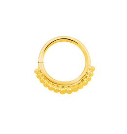 Junipurr Yellow Gold Beaded Seam Ring 16g  5/16""