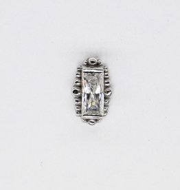 BVLA Threadless White Gold Baguette with 4x2mm White CZ