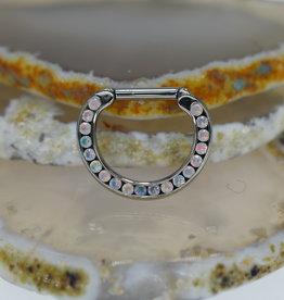 "Anatometal Septum Clicker 14g 3/8"" White Opal"