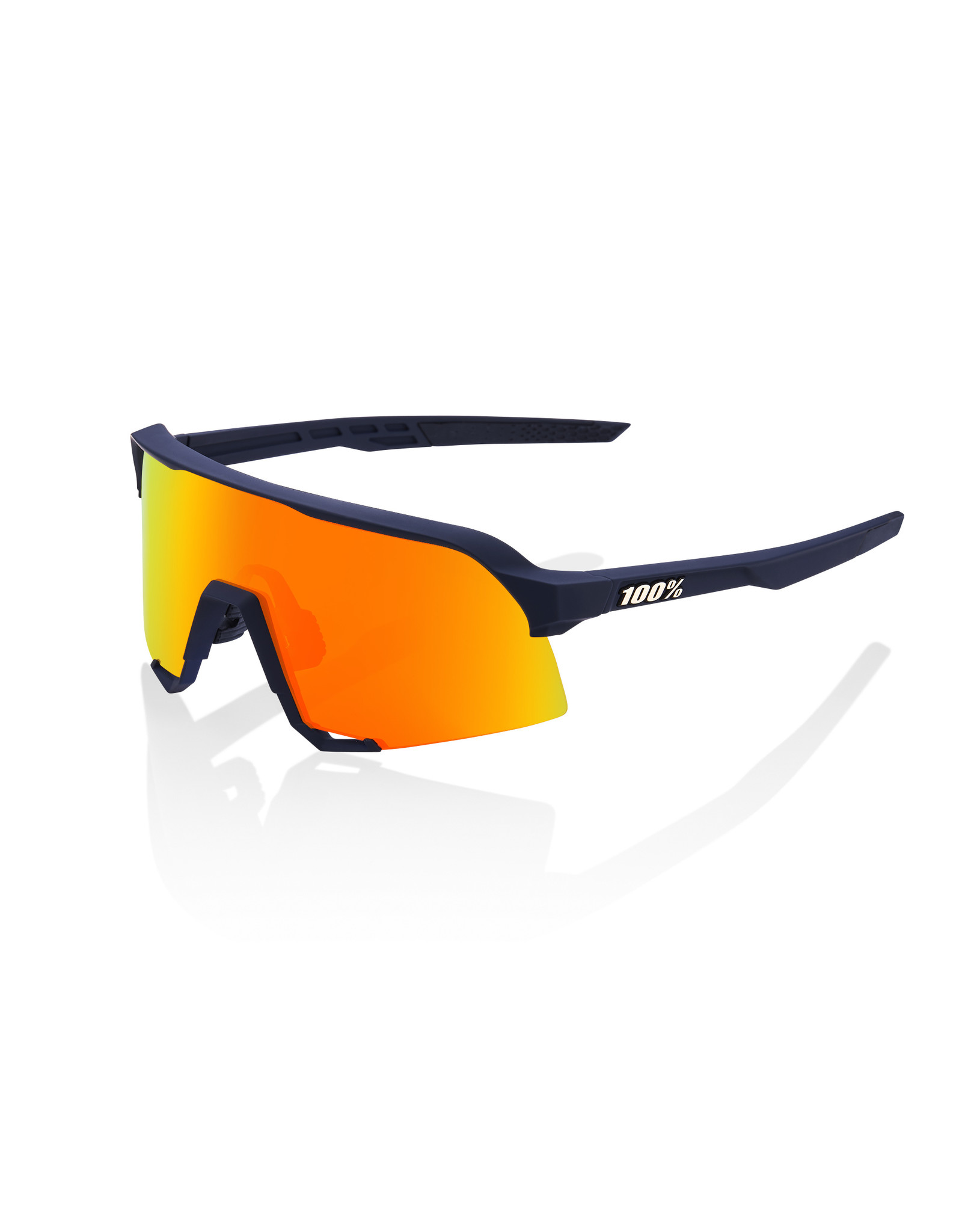 100% 100% SUNGLASSES S3 - SOFT TACT FLUME - HIPER RED MULTILAYER MIRROR LENS
