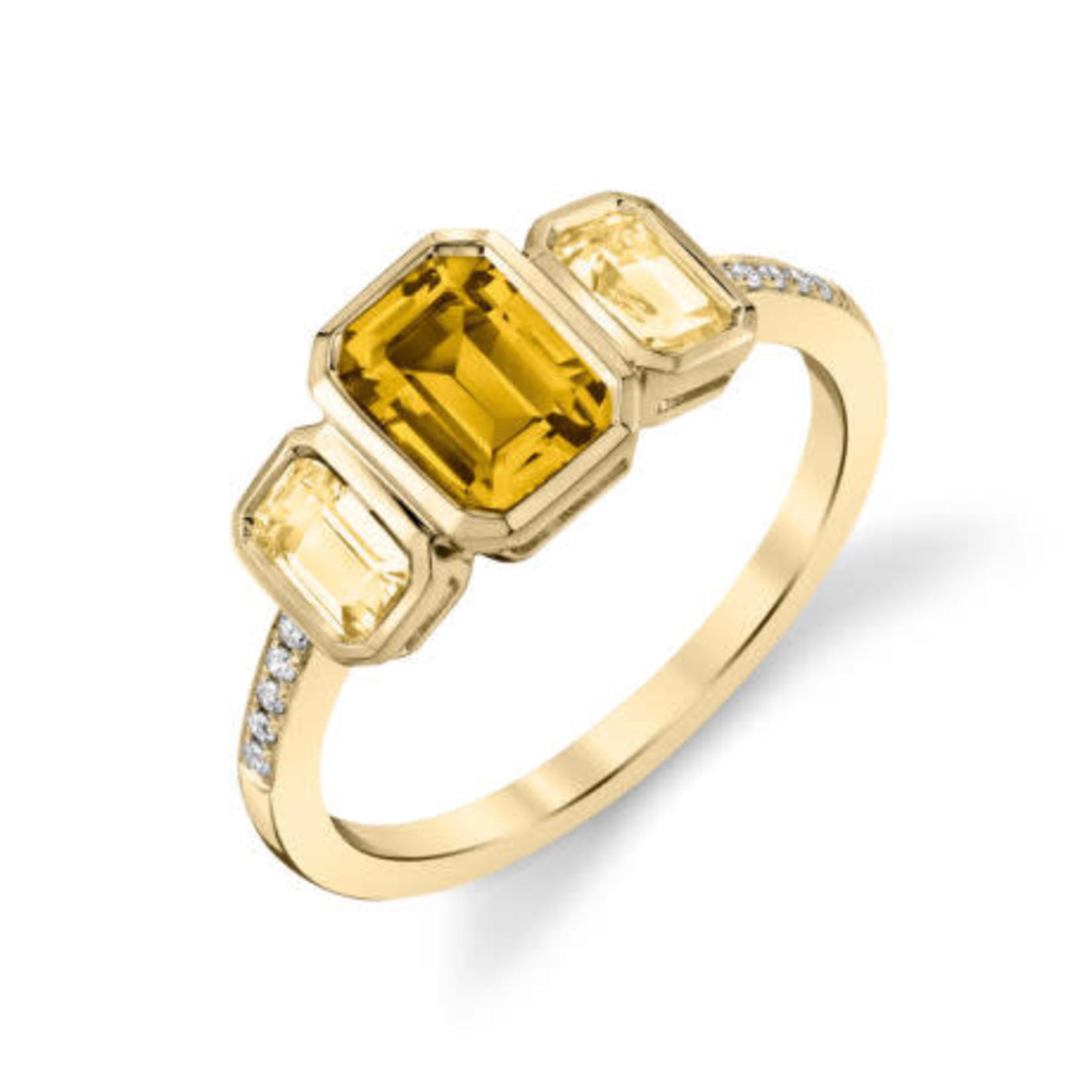 Citrine Bezel Three-Stone Ring
