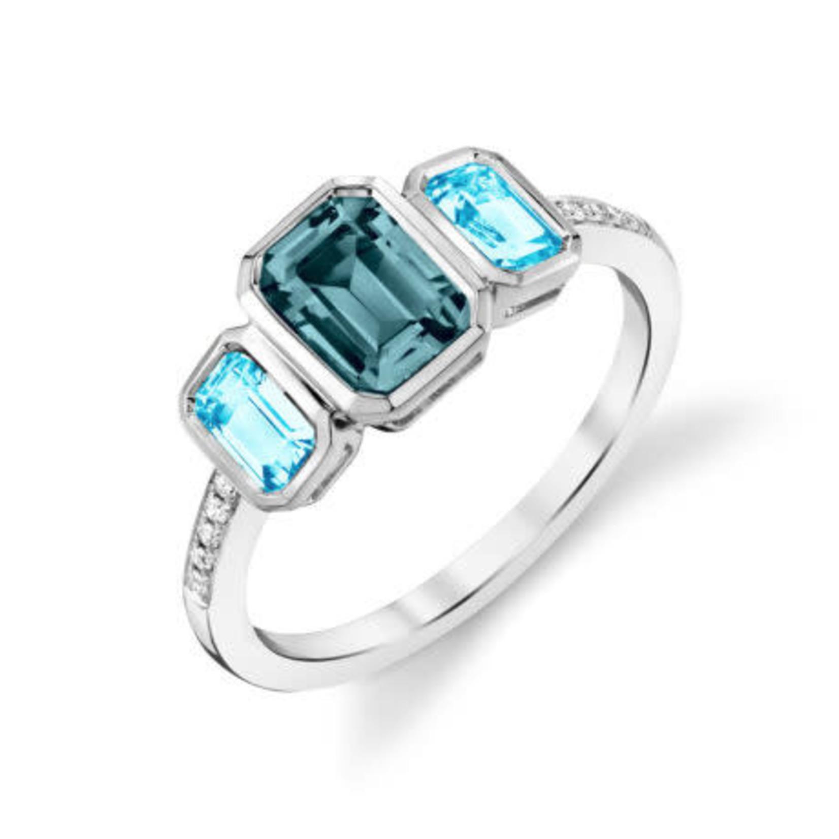 Topaz Bezel Three-Stone Ring