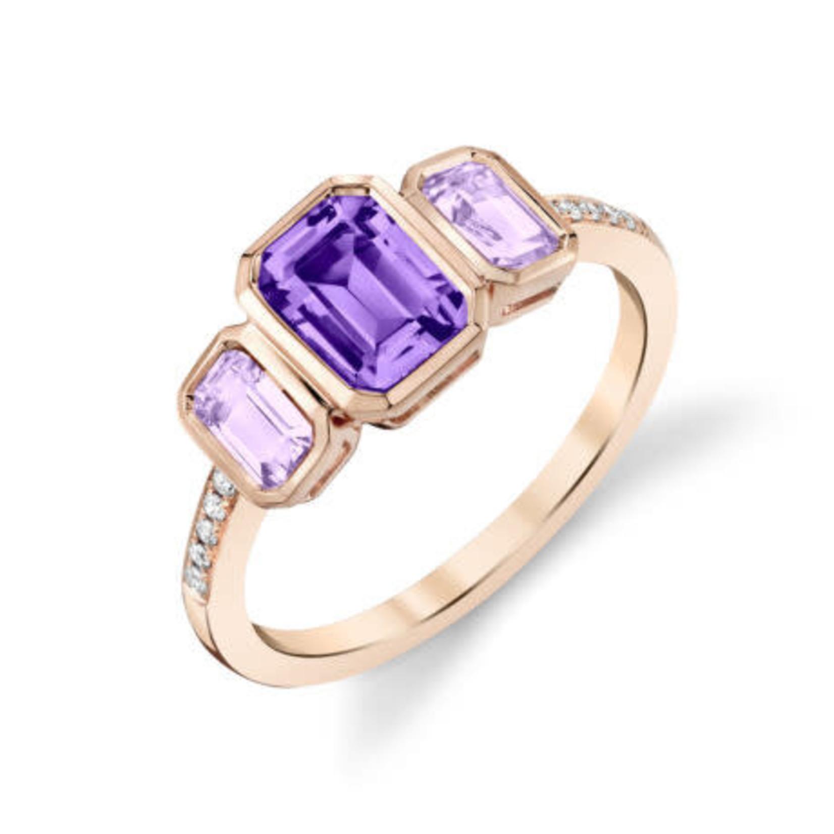 Amethyst Bezel Three-Stone Ring