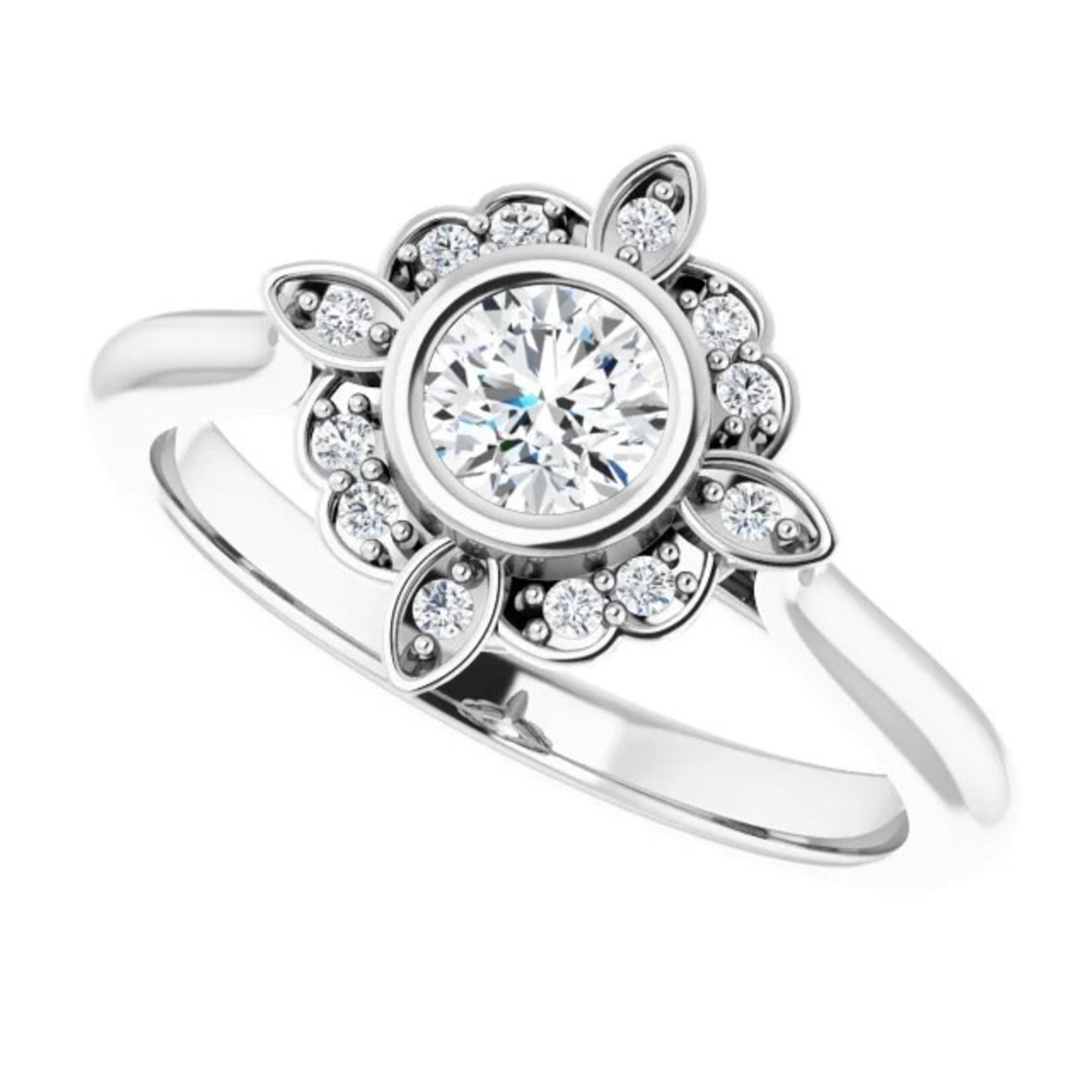 Bezel-Set Fancy Halo Engagement Ring