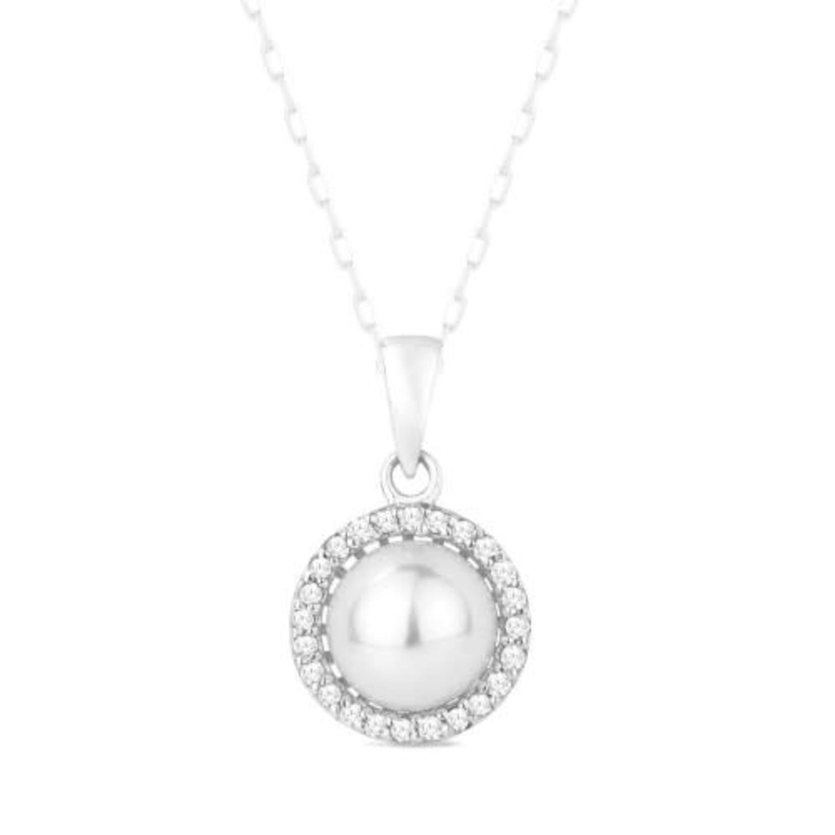 Diamond Halo Pearl Pendant