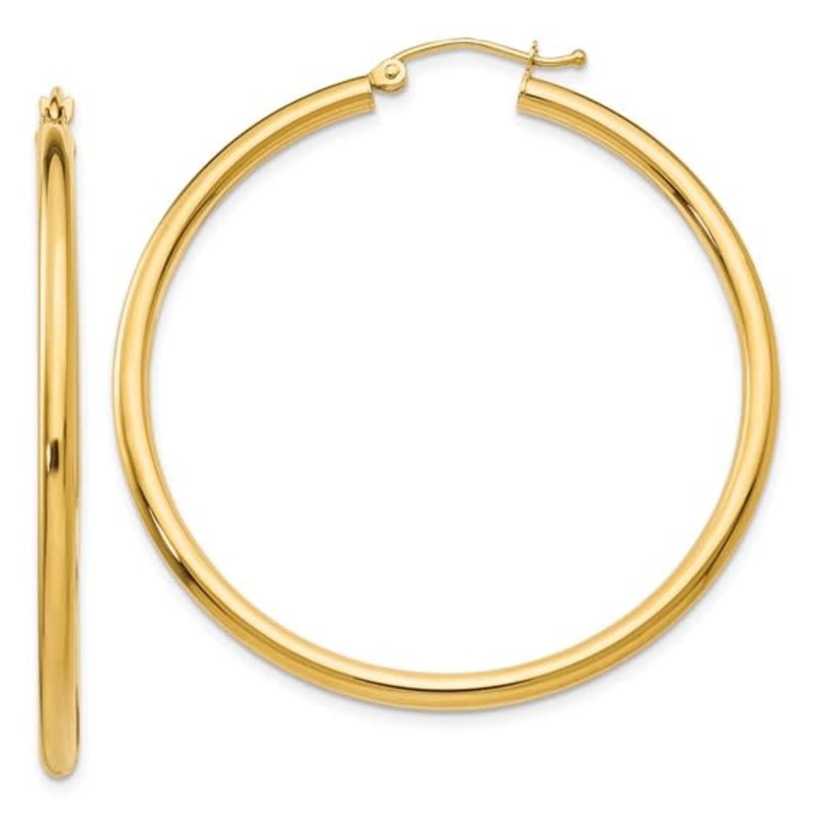 14k Polished 2.5mm Lightweight Round Hoop Earrings
