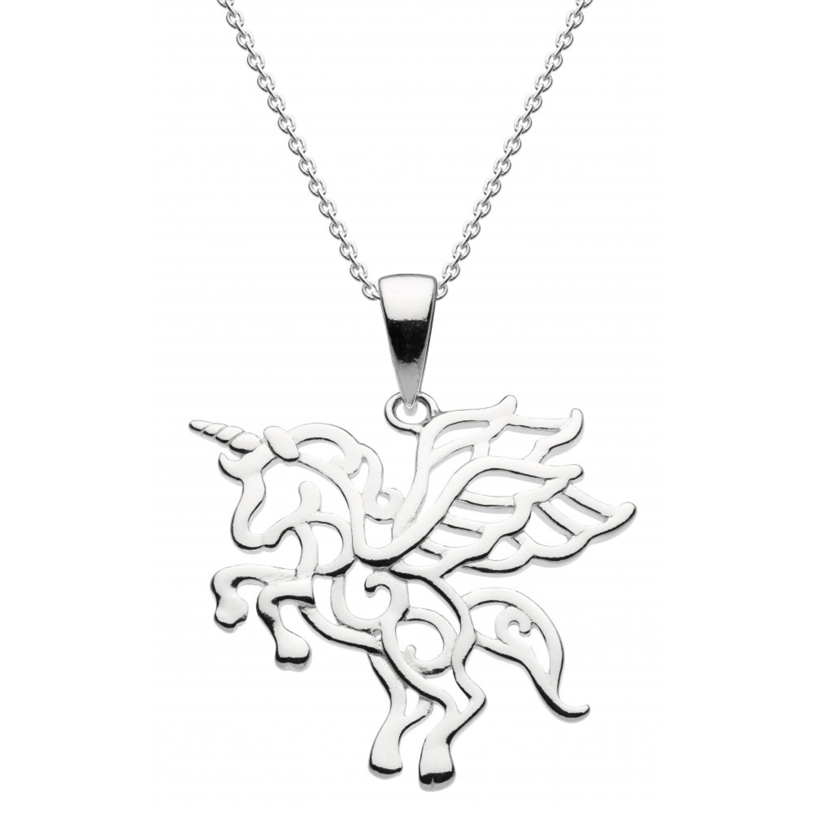 Dew Flying Unicorn Pendant 18in chain