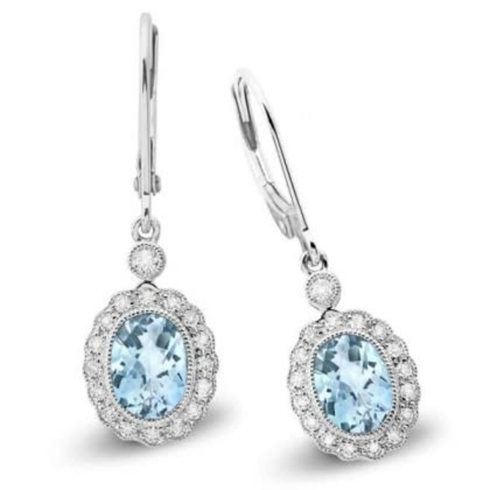 Aquamarine & Diamond Dangle Earrings