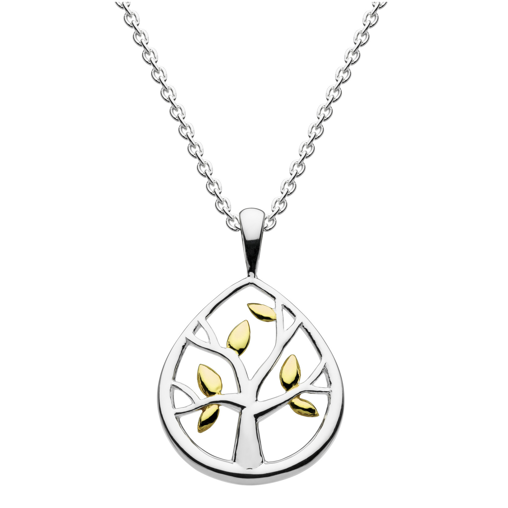 SS/Dew Gold Plate Leafed Tree Pendant