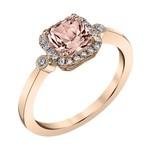 Rose Gold Square Morganite Halo Ring