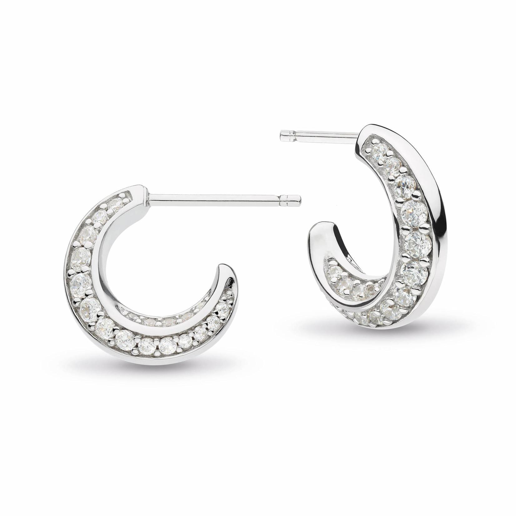 Bevel Cirque CZ Pavé RP Semi-Hoop Stud Earrings