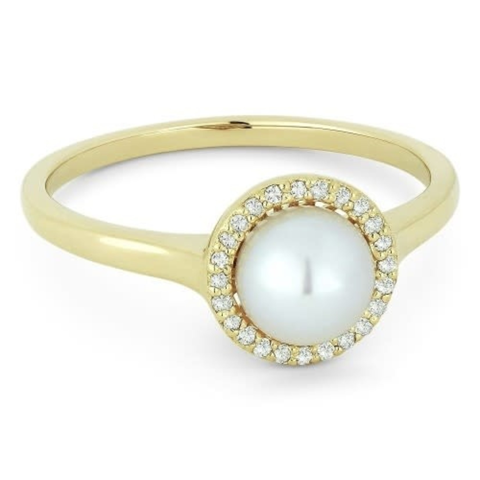 Diamond Halo Pearl Ring