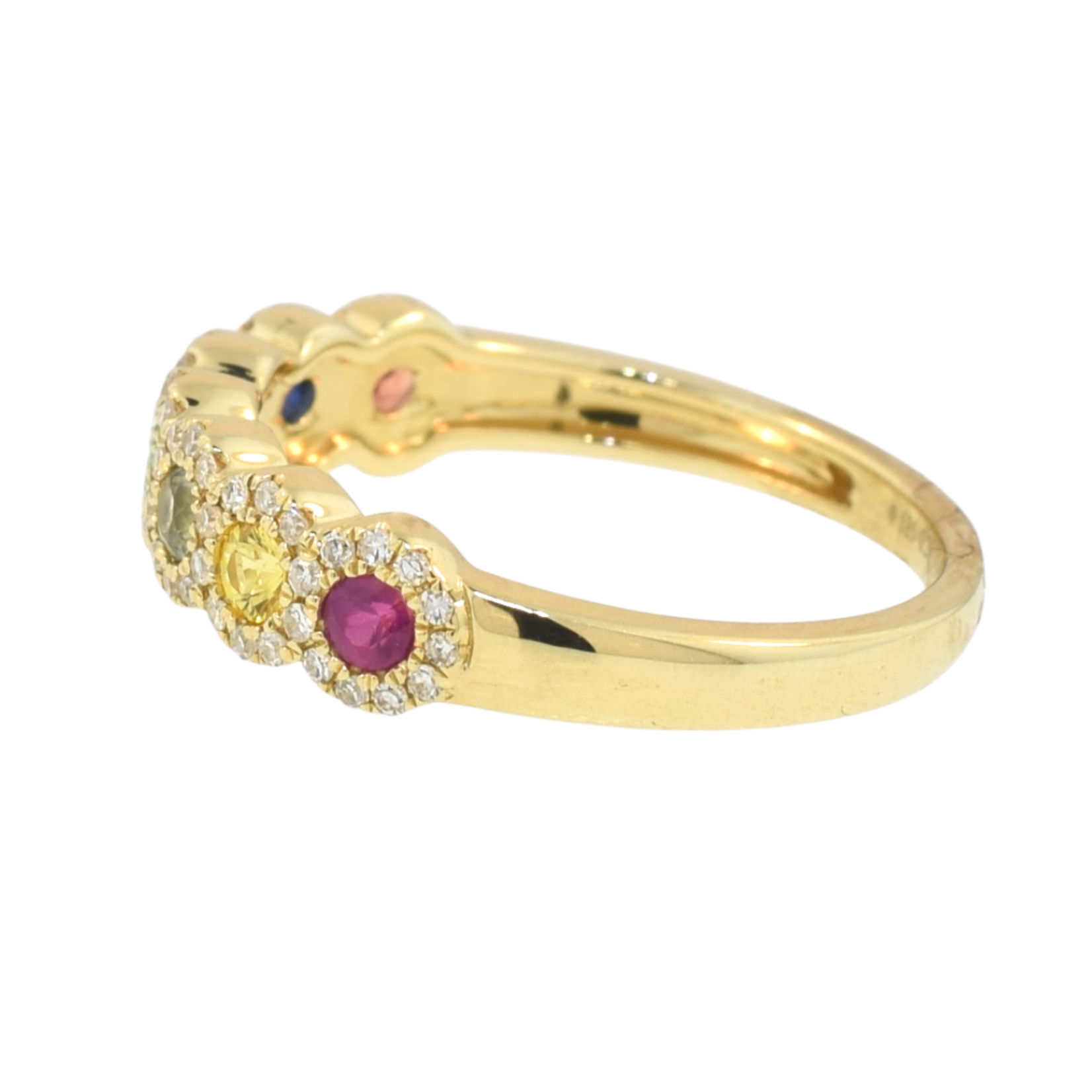 Gemstone and Diamond Rainbow Ring