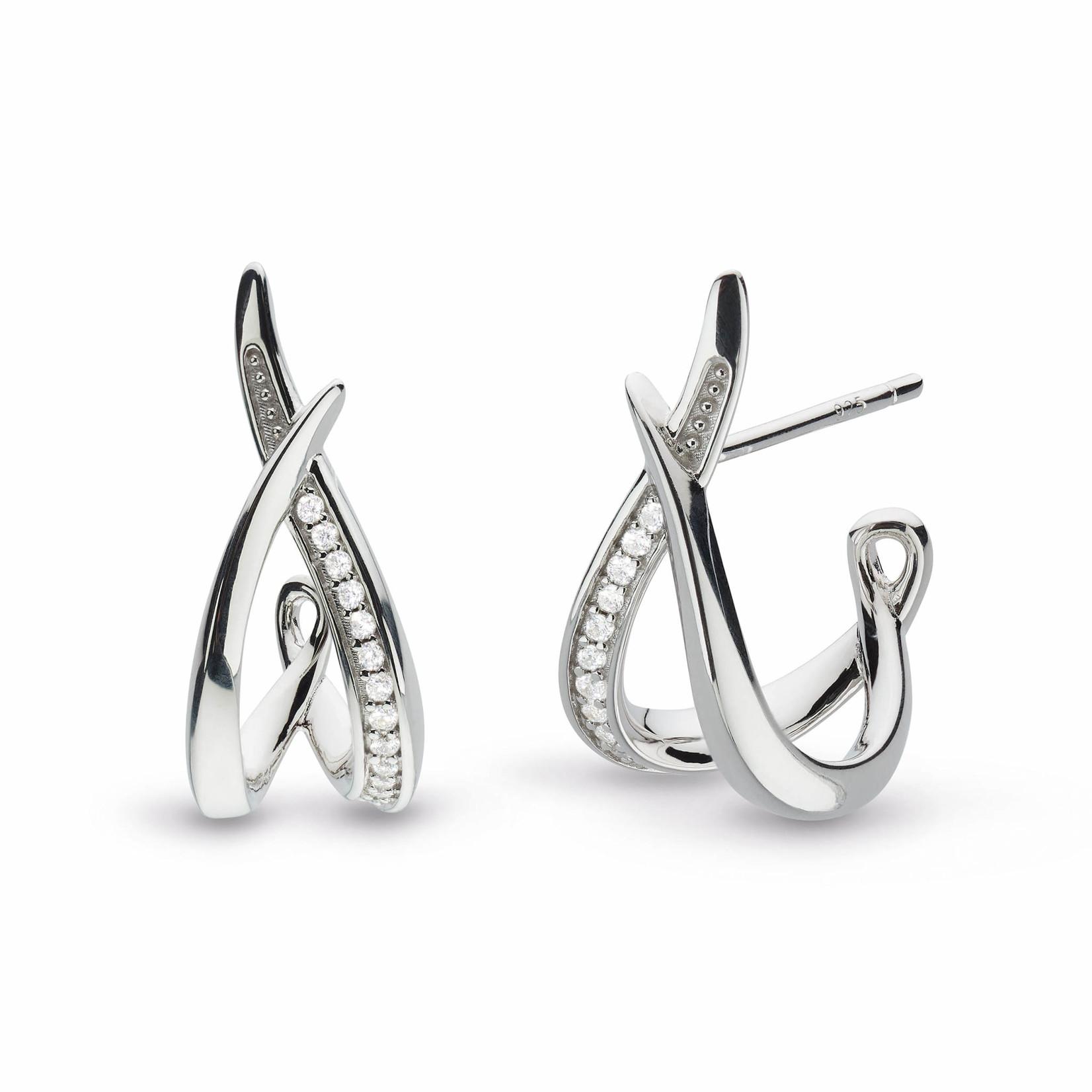 Entwine Twine Twist CZ Pavé RP Hoop Earrings