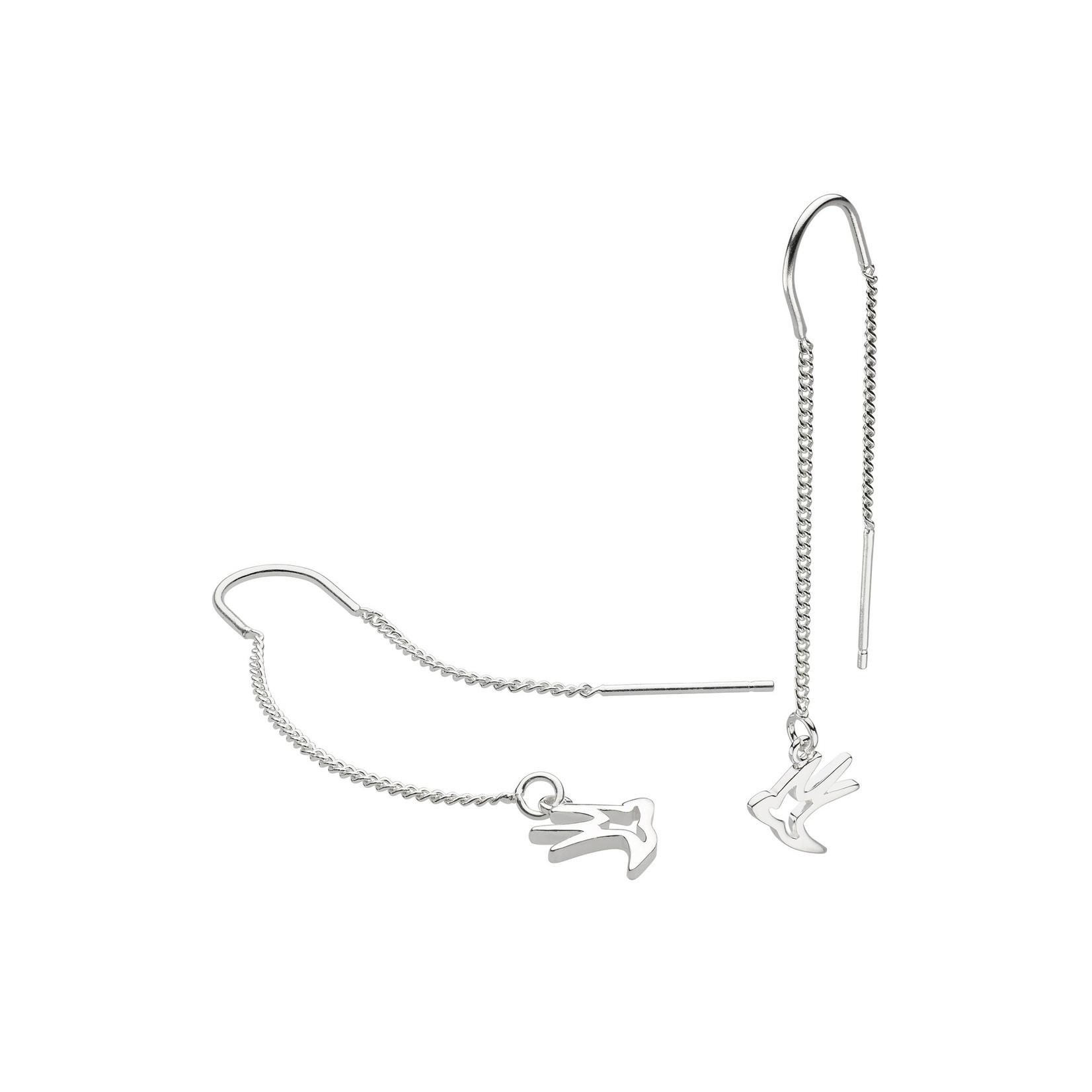 Silver Swallow Chain Drop Earrings