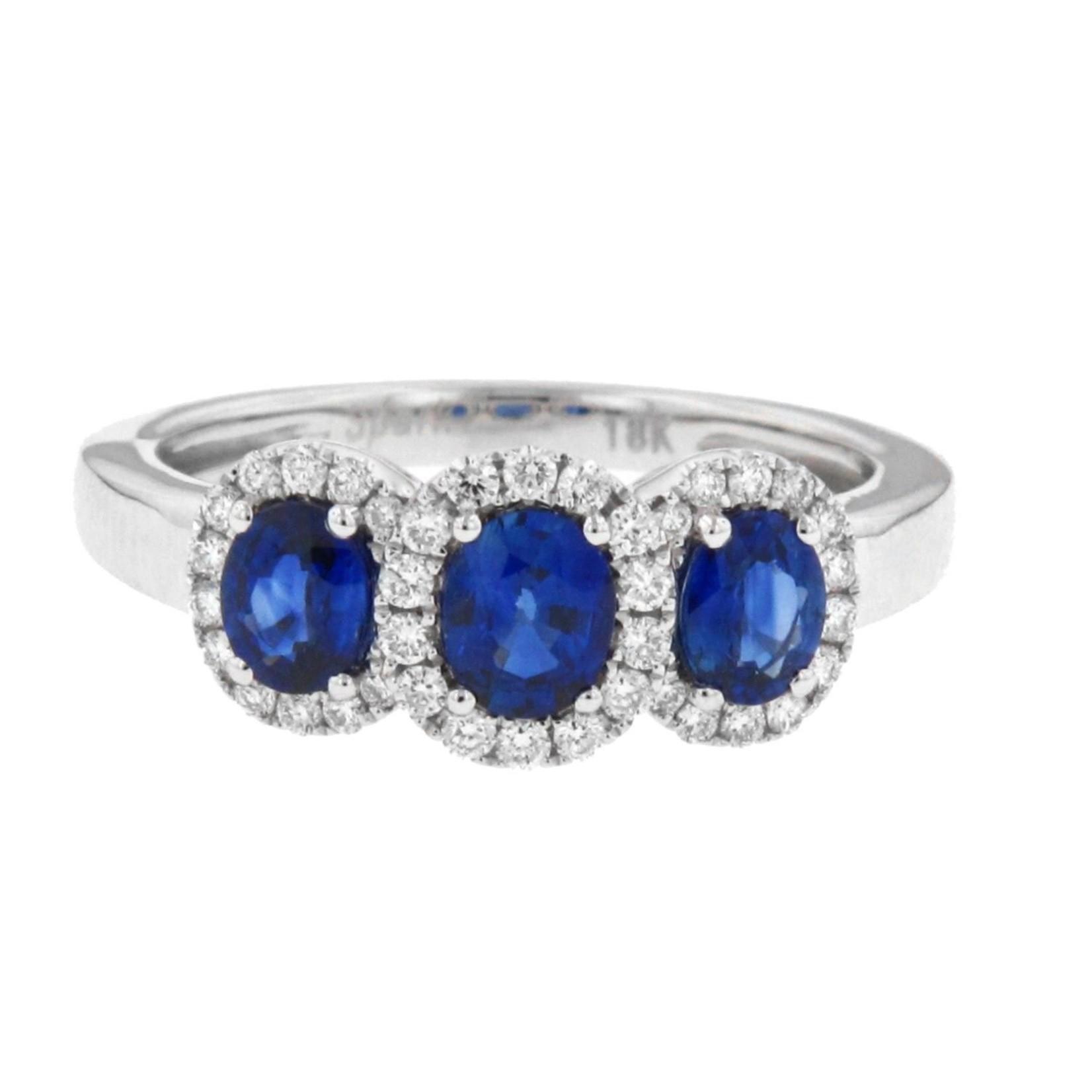 Blue Sapphire & Diamond Three-Stone Ring